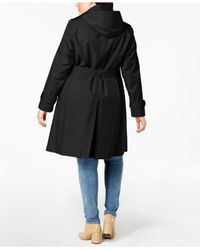 London Fog - Black Plus Size Double-breasted Hooded Trench Coat - Lyst