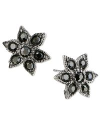 2028 | Metallic Earrings, Silver-tone Hematite Star Post Earrings | Lyst