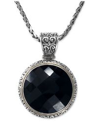Effy Collection | Black Onyx Circle Pendant Necklace (35-1/5 Ct. T.w.) In Sterling Silver And 18k Gold | Lyst