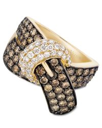 Le Vian | Metallic Chocolate Diamond (2-1/6 Ct. T.w.) And White Diamond (3/8 Ct. T.w.) Buckle Ring In 14k Gold | Lyst