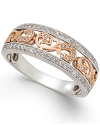 Macy's - Multicolor Men's Diamond Two-tone Openwork Wedding Band (1/2 Ct. T.w.) In 14k White & Rose Gold - Lyst
