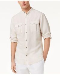 INC International Concepts - Natural Band Collar Fuji Shirt, Created For Macy's for Men - Lyst