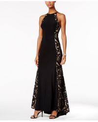 71a5dc14 Xscape Tattoo Illusion Halter Gown in Black - Lyst