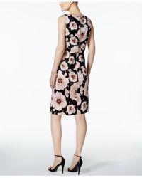 Ivanka Trump - Black Floral-print Scuba Popover Dress - Lyst
