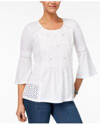 Style & Co. | White Petite Embroidered Lantern-sleeve Top | Lyst