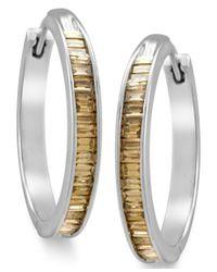 Macy's | Multicolor Sterling Silver Earrings, Champagne Diamond Baguette Hoop Earrings (1 Ct. T.w.) | Lyst
