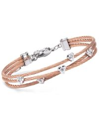 Charriol - Multicolor Women's Malia White Topaz-accent Two-tone Pvd Stainless Steel Cable Bangle Bracelet - Lyst