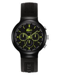 Lacoste | L!ve Watch, Men's Chronograph Borneo Black Silicone Strap 44mm 2010650 for Men | Lyst