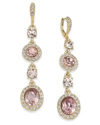 Givenchy - Metallic Gold-tone Pavé & Pink Crystal Linear Drop Earrings - Lyst
