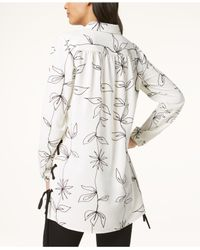 Alfani - White Printed Side-tie Tunic, Created For Macy's - Lyst