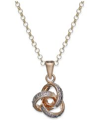 Macy's | Metallic Victoria Townsend 18k Gold Over Sterling Silver Necklace, Diamond Accent Love Knot Pendant | Lyst