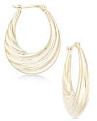Macy's - Metallic Deep Swirl Oval Hoop Earrings In 14k Gold - Lyst