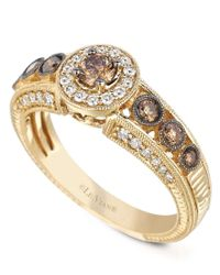 Le Vian | Metallic White And Chocolate Diamond Engagement Ring (5/8 Ct. T.w.) In 14k Gold | Lyst
