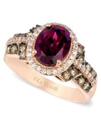 Le Vian | Multicolor Raspberry Rhodolite Garnet, Chocolate And White Diamond Oval Ring (2-3/4 Ct. T.w.) In 14k Strawberry Rose Gold | Lyst