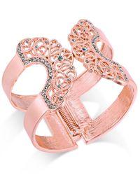 INC International Concepts | Pink Pavé Lace Hinged Cuff Bracelet | Lyst