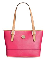Giani Bernini - Pink Saffiano Tote, Created For Macy's - Lyst