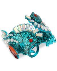 Betsey Johnson - Blue-tone Crystal & Imitation Pearl Glitter Seahorse Bangle Bracelet - Lyst