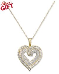 Macy's | Multicolor Diamond Baguette Heart Necklace In 10k Gold Or White Gold (3/8 Ct. T.w.) | Lyst