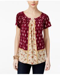 Style & Co. | Red Printed Pleated Top | Lyst