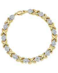 Macy's | Metallic Diamond Accent Hearts And Kisses Link Bracelet In 18k Gold Over Fine Silver-plate | Lyst