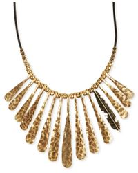 Lucky Brand   Metallic Necklace, Gold-tone Fan Feather Leather Cord Necklace   Lyst