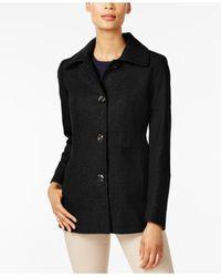 London Fog - Black Petite Wool-blend Peacoat - Lyst
