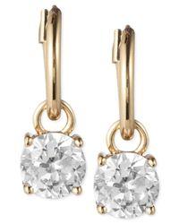 Anne Klein - Metallic Gold-tone Crystal Drop Hoop Earrings - Lyst