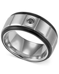 Triton - Multicolor Men's Black And White Tungsten Ring, Black Diamond Accent Wedding Band for Men - Lyst