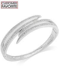 Charter Club - Metallic Silver-tone Crystal Pavè Bypass Bracelet - Lyst