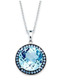 Macy's | Sterling Silver Necklace, Blue Swarovski Zirconia (5/8 Ct. T.w.) And Blue Topaz (11 Ct. T.w.) Round Halo Pendant | Lyst