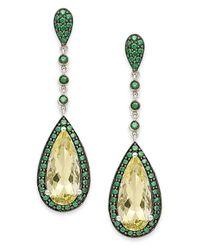Macy's | Metallic Sterling Silver Earrings, Lemon Quartz (5 Ct. T.w.) And Green Swarovski Zirconia (1-1/5 Ct. T.w.) Drop Earrings | Lyst