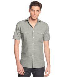 Alfani - Gray Short Sleeve Warren Textured Shirt for Men - Lyst