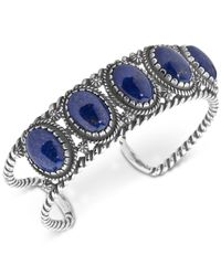 Carolyn Pollack - Metallic Lapis Lazuli Decorative Cuff Bracelet In Sterling Silver - Lyst
