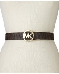 Michael Kors - Brown Michael Reversible Logo With Logo Buckle Belt - Lyst