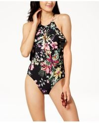 Carmen Marc Valvo - Black Floral Printed High-neck Ruffled Scoop-back One-piece Swimsuit - Lyst