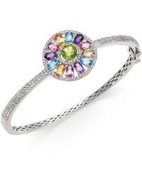 Macy's - Metallic Multi-stone (4-5/8 Ct.t.w.) Pinwheel Bangle Bracelet In Sterling Silver - Lyst