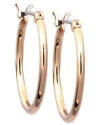 Nine West   Metallic Gold-tone Small Tube Hoop Earrings   Lyst