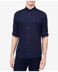 Calvin Klein - Blue Herringbone Texture Shirt for Men - Lyst