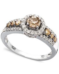 Le Vian - Brown Chocolate And White Diamond Ring In 14k White Gold (3/4 Ct. T.w.) - Lyst