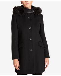 DKNY - Black Faux-fur-trim Hooded Coat - Lyst