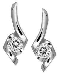 Sirena - Metallic Diamond Swirl Earrings In 14k White Gold (1/4 Ct. T.w.) - Lyst