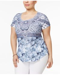 Style & Co. - Blue Plus Size Printed Embellished Top - Lyst