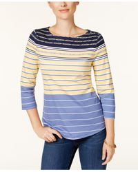 Charter Club - Blue Button-shoulder Print Top, Created For Macy's - Lyst