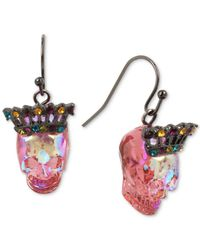 Betsey Johnson - Pink Two-tone Multicolor Pavé Crown & Skull Drop Earrings - Lyst