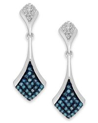 Macy's - 1blue And White Diamond Drop Earrings In Sterling Silver (1/5 Ct. T.w.) - Lyst