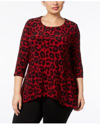 Anne Klein - Red Plus Size Animal-print Tunic - Lyst