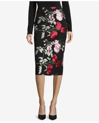Eci - Black Embroidered Pencil Skirt - Lyst