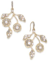 INC International Concepts - Metallic Gold-tone Pavé & Imitation Pearl Flower Drop Earrings - Lyst