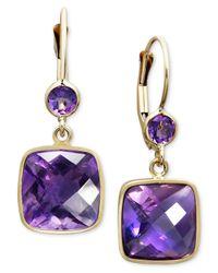 Macy's - Metallic 14k Gold Earrings, Amethyst Cushion Cut Drop (8-1/2 Ct. T.w.) - Lyst