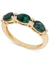Macy's - Green Emerald (1-3/8 Ct. T.w.) And Diamond Accent Ring In 14k Gold - Lyst